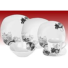 Van Well - Servizio combinato con piatti quadrati in porcellana, 124 pezzi (12 persone), motivo: fiori neri, colore: Bianco