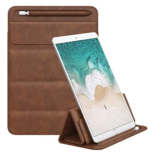 MoKo Schutzhülle Angepasst Kompatibel mit iPad Pro 11, iPad Pro 10.5, iPad Pro 9.7, iPad Air 2 Tablet, PU Lederhülle Schutztasche Protective Sleeve, Tri-fold Stand Pouch Case mit Stifthalter - Braun