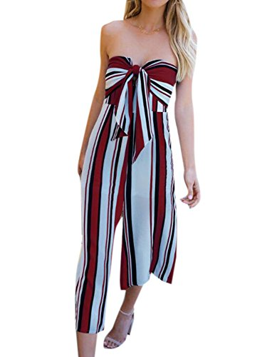 Keephen Frauen Striped Long Jumpsuit, Sommer Sexy Culotte Jersey Bandeau V-Ausschnitt Tie Wide Leg Beach Casual Fitness Overall