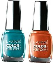 Lakmé True Wear Color Crush Nail Color, Blue 27, 9ml & Lakmé True Wear Color Crush Nail Color, Shade 61, 9 ml