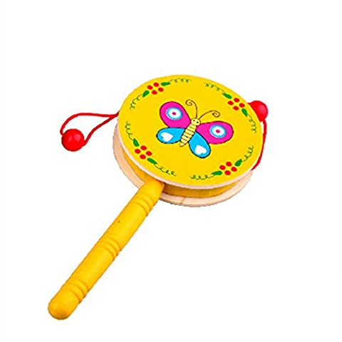 LUFA Baby Shaking Rattle Cartoon Wooden Hand Bell Drum Kids Musical Instrument Toy(Random Color)