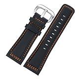 28mm haut de gamme Robust Bracelets montres cuir noir Remplacements pour Swiss Luxury Montres Handmade Contraste Hommes orange Stitching