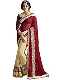Indistar Georgette Saree (13905-IW-2-OBS_Red_Free Size)
