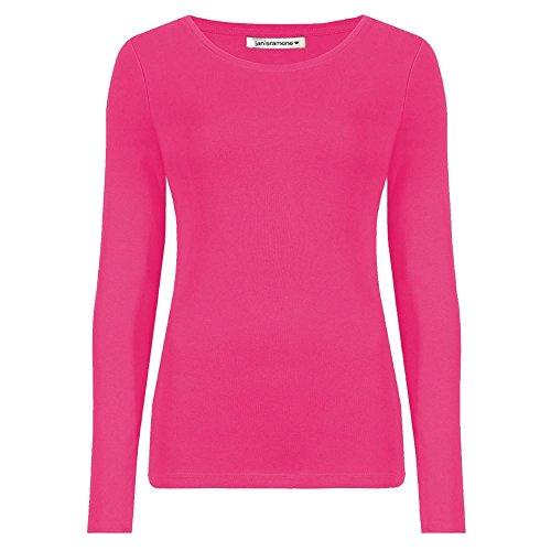 Janisramone Damen-Shirt mit Rundhalsschnitt, langärmelig, einfarbig Rot - Kirschrot