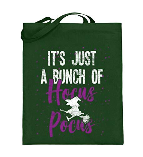 Shirtee Es ist nur Hocus Pocus - Hexe - Hexen Halloween Kostüm - Jutebeutel (mit langen Henkeln) -38cm-42cm-Grün