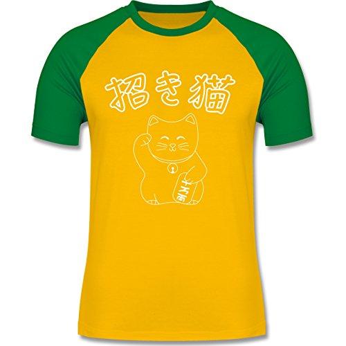 Katzen - Winkekatze- Japanisch - zweifarbiges Baseballshirt für Männer Gelb/Grün