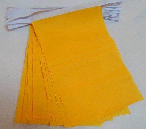 AZ FLAG Guirnalda 12 Metros 20 Banderas Unicolor Amarillo 45x30cm - Bandera Amarilla 30 x 45 cm - BANDERINES