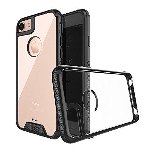 Rillo Rasierer Dünn Fit Schwarz Slim Case Made für iPhone 7& 8Crystal Clear Rückseite mit Dämpfung und Drop Getestet stoßfest mit Extreme Schutz, Rutschfeste Grip Design - Handy Iphone Verizon