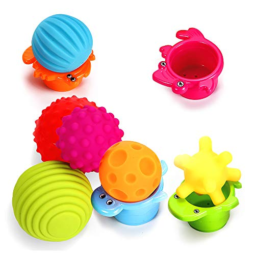 Coupon Matrix - Sensory Balls for Baby- Great Variety In Texture and Color - Kids Rainbow Bath CM© toys- 6 Colorful Soft and Squeeze Sensory CM© toy + 4 Stacking Cups Set for Babies & Toddlers - Kids BPA Free Water CM© toy