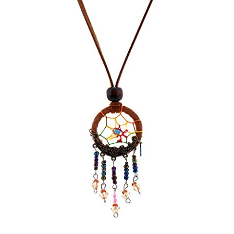 Lureme® Dream Catcher Pendant Ball Beads Cluster Dangle Suede Rope Necklace-Brown (01003546-2)