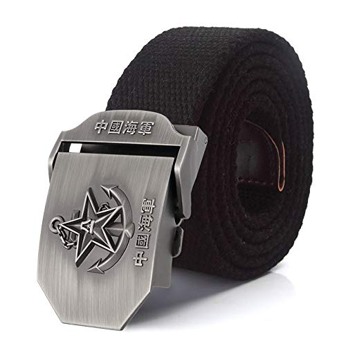 ZHYAODAI Canvas Strap 3D Alloy Star Buckle Belt Military Tactical Army Belts for Men Strap Male Black, Blue, 90Cm