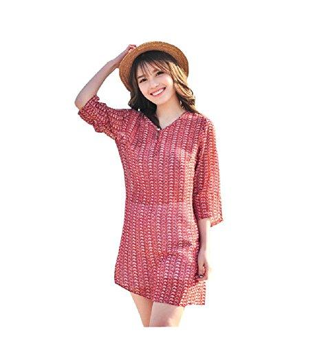 BOMOVO Damen Sommer Langarm Chiffon Celebrity Party Abendkleid Strandkleid Mini Kleid Rot