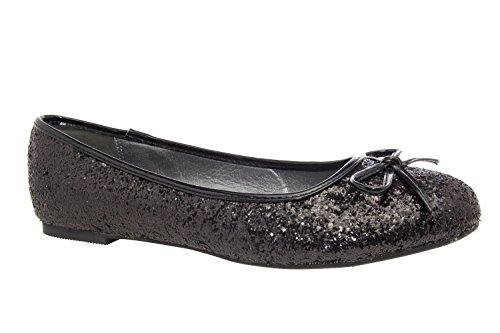 Classiche ballerine grandi in glitter nero.44
