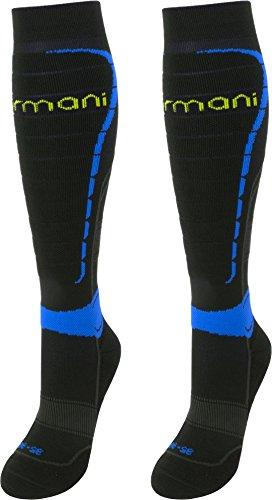 normani 2 oder 4 Paar Coolmax Sportsocken/Kompressionsstrümpfe mit Frotteesohle und anatomisch angeordneten Polsterzonen Farbe Schwarz/Blau 2 Paar Größe 39/42