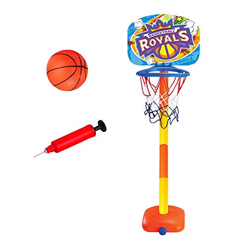 Womdee Basketballständer Kinder, Höhenverstellbar & Stabiler Standfuß, Basketballkorb mit Ständer, Aufblasbarer Basketball, Pumpe, Tolles Geschenk für Kinder Kleinkinder