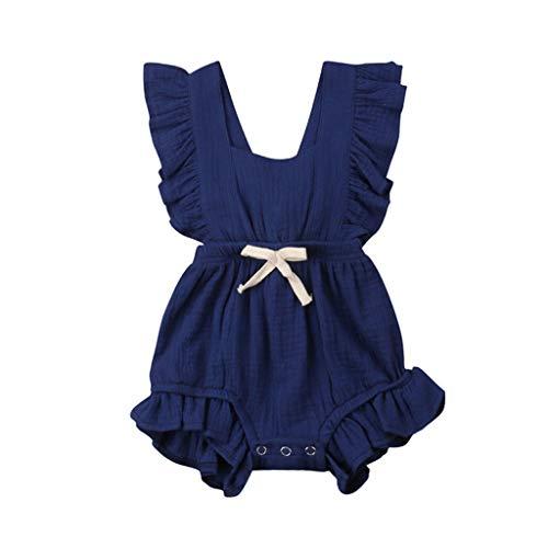 JUTOO Neugeborenes Baby Mädchen Kinder Farbe einfarbig Rüschen Rückkreuzspielanzug Bodysuit Outfits ()