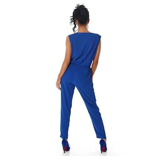 Voyelles Damen Overall Anzug Hausanzug Jumpsuit Bodysuit Einteiler LangTrendy Hosenanzug Blau