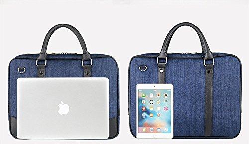 wewod 14Inch Laptop Borsa/Business tasche per documento -- qualità Oxford panno/40* 5* 30cm, Blaue Jeans (multicolore) - D-02 grau