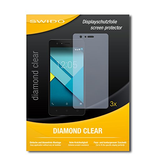 SWIDO 3 x Schutzfolie BQ Aquarius M5 Bildschirmschutz Folie DiamondClear unsichtbar