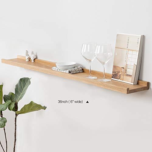 90 cm rustikales massives Eichenholzblock, Frei schwebende Eiche, Wandregal, dekoratives Hängeregal, Home Storage Organizer Bücherregal -