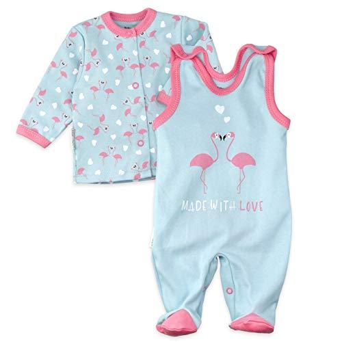 Baby Sweets Baby Set Strampler + Shirt Mädchen türkis rosa   Motiv: Made with Love   Babyset 2 Teile für Neugeborene & Kleinkinder   Größe: 0-3 Monate (62)... -