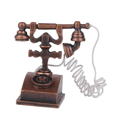 kimberleystore Creative 1/12marrón en miniatura para casa de muñecas muñeca juguete teléfono Retro Vintage teléfono