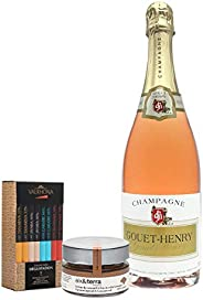 Coffret Champagne Rosé, gourmandise & Chocolat Valrhona - Champagne Rosé - Coffret Grands Crus Valrhona -