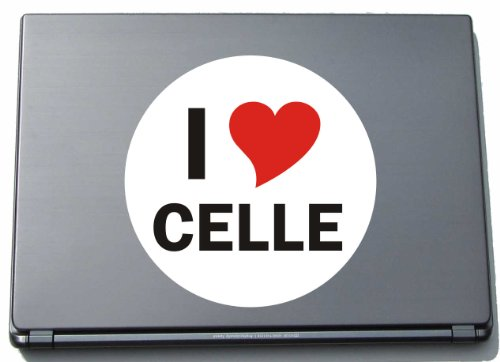 Indigos I Love Aufkleber Decal Sticker Laptopaufkleber Laptopskin 210 mm mit Stadtname CELLE