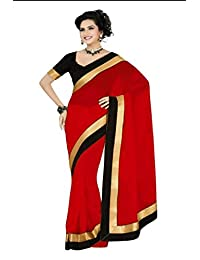 REYA Georgette Saree (STAINRED_Red_Free Size)