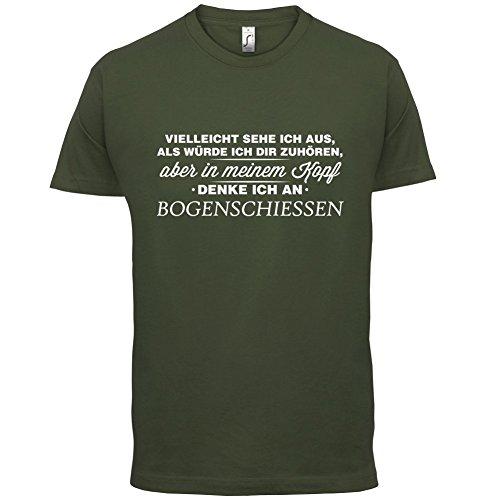Vielleicht sehe ich aus als würde ich dir zuhören aber in meinem Kopf denke ich an Bogenschießen - Herren T-Shirt - 13 Farben Olivgrün