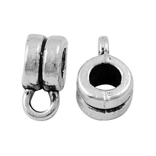Rondelle argento antico placcato link di ganci in stile tibetano , perline bails, senza piombo & nichel & cadmio, 9 mm di lunghezza, 4 mm di larghezza, Foro: 2 mm