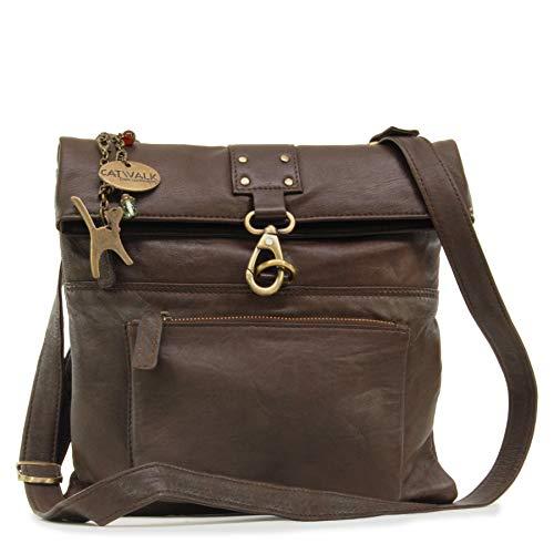 Catwalk Collection Handbags - Damen Leder Umhängetasche/Handtasche/Messenger - DISPATCH - Braun (Denke, Braun-handtaschen)