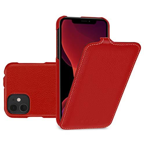 keledes Custodia Flip Verticale in Vera Pelle Compatibile con Apple iPhone 11 6,1 Pollici, Rosso