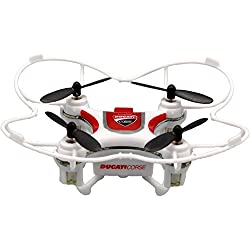 Ducati Corse–Mini Drone de Tres velocidades Flip & Rolls - con protección para hélices integrada y radiocomando Bianco