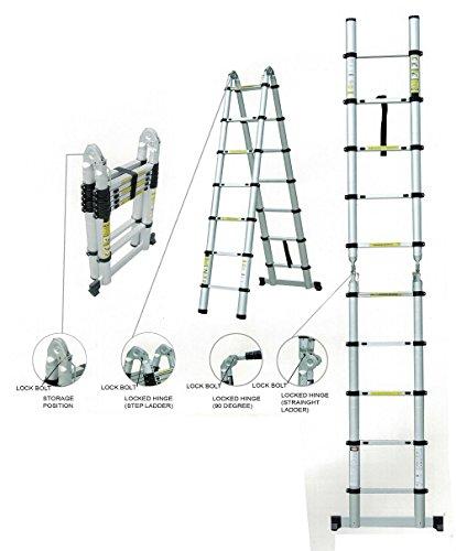 Teleskopleiter Klappleiter ausziehbare Leiter Mehrzweckleiter Aluleiter Ausziehleiter Stehleiter Anlegeleiter aus Aluminium bis 5m