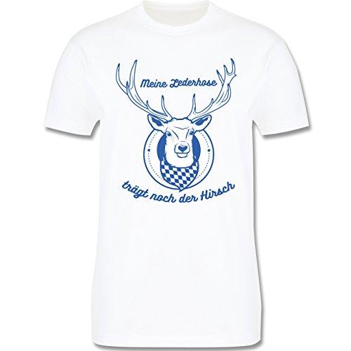 Shirtracer Oktoberfest Herren - Meine Lederhose Trägt Noch der Hirsch - Herren T-Shirt Rundhals Weiß