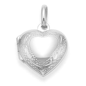 925 Sterling Silber Herz Medaillon Anhänger mit Gravur, Design-Größe: 16 mm x 18 mm