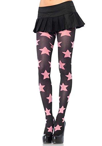 Leg Avenue 7899 - Blickdichte Strumpfhose, Einheitsgröße, schwarz/rosa -