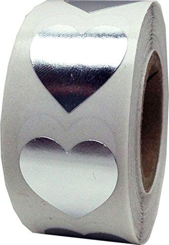 Plata Brillante Corazon Pegatinas, 19 mm 3/4 Pulgada de Ancho, 500 Etiquetas en un Rollo