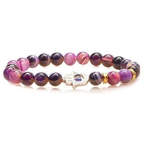 mikini Damen Herren Heilende Energie Lava Rock Stein Mala Gebetskette Armbänder, Fatima Hand Charm, Blue/Purple/Silver