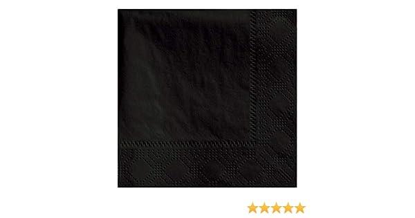 Thali Outlet 100 x Black Paper Dinner Napkins 3 Ply 40cm 4 Fold Tissue Serviettes