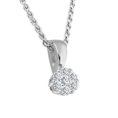 Diamond Line Damen - Halskette 585er Gold 7 Diamanten ca. 0,12 ct, weißgold