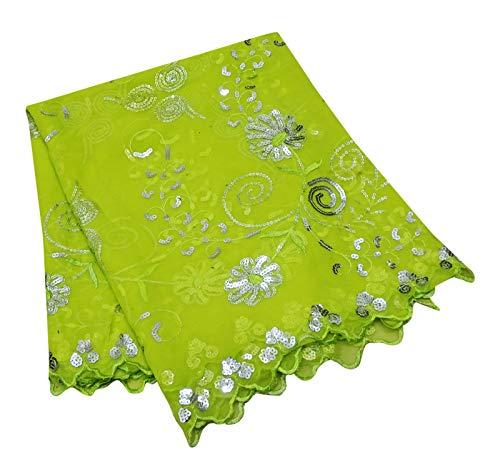 PEEGLI Indische Vintage Georgette Mischung Dupatta Blumen Muster Pailletten Frauen Traditionelle Kleidung Gestohlen Grün DIY Kunst Stoff -