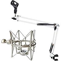 Keepdrum ms1024lg-nb35WH Bianco Braccio Snodato microfono treppiede + MS088ragno per microfono argento per microfoni Rode