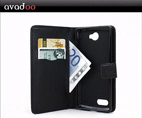 avadoo® Archos 50 Diamond 4G Flip Case Cover Tasche Schwarz mit Magnetverschluss und Dualnaht als Cover Tasche Hülle