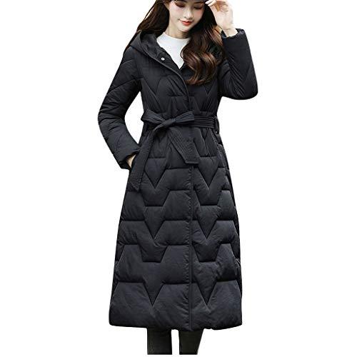 KPILP Damen Lang Wintermantel Elegant Steppjacke Daunenjacke Outwear Herbst Winter Warme Mantel Jacken mit Kapuze und Gürtel Taschen Dicke Slim Down Lammy Winterjacke