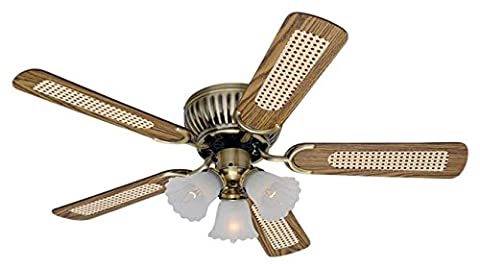 Pepeo 10542015 105 cm Extra Flat Ceiling Fan with Mahogany/Oak Rattan Blades - Brass Antique