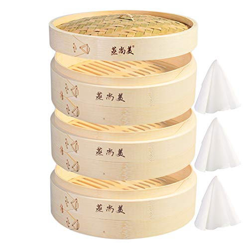 Hcooker 3 Capas de Cocina Cesta de Vapor de Bambú para Cocinar...