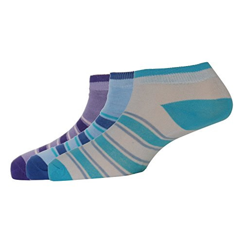 Rioska Women's Premium Cotton Ankle Length Combo Socks (Pack of 3 pair free size) Blue White Purple  available at amazon for Rs.239