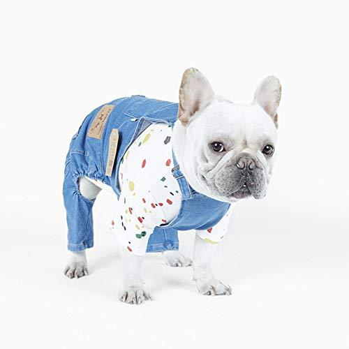 PZSSXDZW Zwei-Bein-Kleidung Neue europäische und amerikanische Hunde Baumwoll Stretch Jeans Hund Zwei Fuß ()